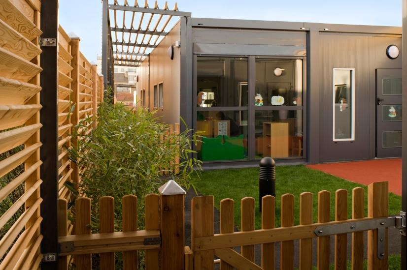 Crèche modulaire à Montreuil le jardin des petits Réalisation EMMANUELLE LE CHEVALLIER architecte