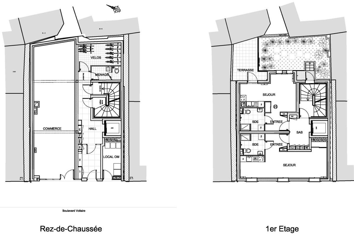 Démolition-reconstruction d'un immeuble à Asnières Plans projetés