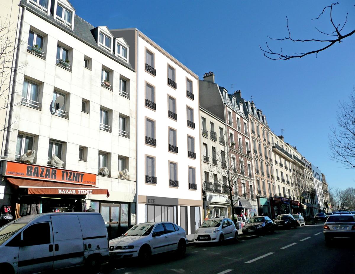 Démolition-reconstruction d'un immeuble à Asnières La façade projetée enduite