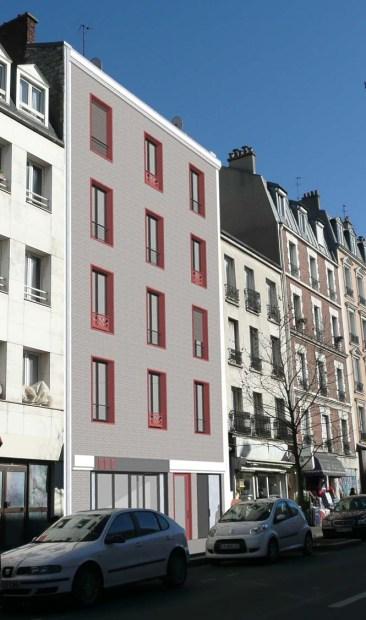 Démolition-reconstruction d'un immeuble à Asnières La façade projetée en brique