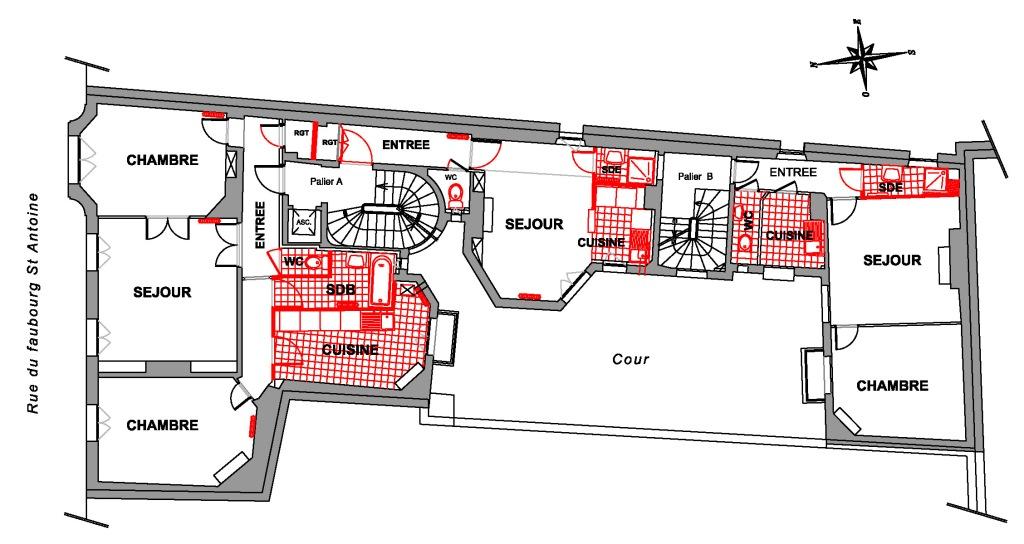 Réhabilitation d'un immeuble haussmanien, réorganisation des appartements